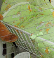 Бортики (35 см), раздельные (4 части ) с чехлами на молнии и набор постели в детскую кровать