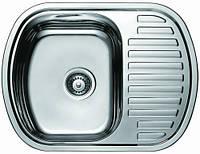 Мойка кухонная Cristal UA7704ZS   прямоуг.с полкой врезная (с закругл. углами) 630x490х180 Decor