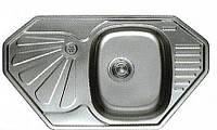 Мойка кухонная Cristal UA7803ZS  угловая врезная 849x472х180 Decor
