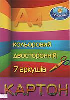 """Картон цветной двухсторонний """"Тетрада"""" 7 листов"""