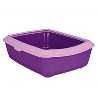 Trixie Фиолетовый пластиковый туалет для кошек с высоким бортом - 47х37х15 см