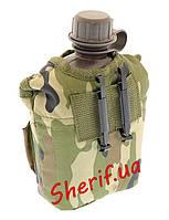 Фляга  армейская с чехлом 1 литр США Woodland, MIL-TEC