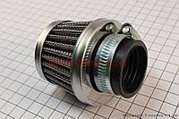 """Воздушный нулевой фильтр на мотоцикл 32мм прямой """"конус"""" стальной"""