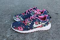 Женские кроссовки Nike (Найк) Roshe Run Floral Pack В НАЛИЧИИ, синие