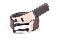 Ремень мужской кожаный 80 Мустанг черно-бежевый.