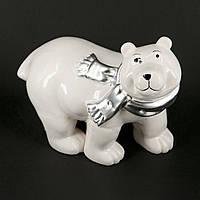 """Статуэтка белый медведь с серебряным шарфиком """"Умка"""" HYS09A037-2"""