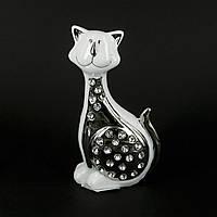 """Статуэтка кота белая с серебром и стразами """"Улыбашка"""" HYS21096-1"""