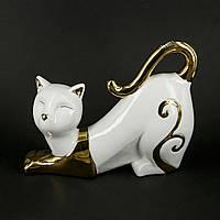 """Фарфоровые статуэтки кошек """"Доброе утро"""" белого цвета HYS21248-1J"""