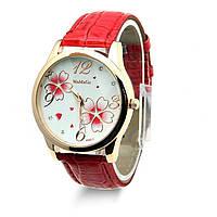 Часы женские с цветами красные
