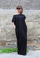 Платье черное в пол лето с коротким рукавом