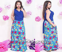 Платье № 303  цветное  для пышных форм в пол. Выбор цветов