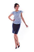 """Женская блуза  """"Инканто креп принт"""" - голубой+синий."""
