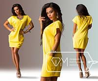 Летнее короткое платье -туника с карманами