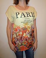 """Женская футболка из шифона """"PARIS"""" 24502 ботал"""