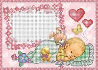 Схема для вышивки бисером Метрика для девочки(зайка) КМР 4173