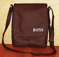 Вместительная мужская сумка матового коричневого цвета с вышивкой Boss