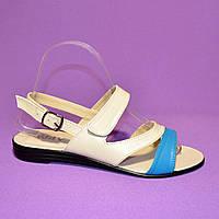 Женские кожаные босоножки летние, цвет бежево-голубой