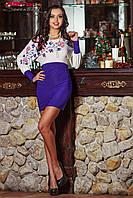 Платье, Материал: масло, микромасло  Длина изделия: 84 см  Цвет: молочный, электрик  Модный синий цвет, элегантный светлый верх с красивым и нежным
