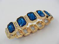 Браслет 013271 в золотистой оправе с темно-синими камнями