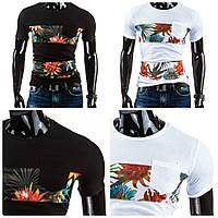 Модная мужская футболка с ярким цветочным принтом