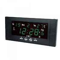 Часы на стену VST 729W-4, зелёная индикация времени/даты/температуры воздуха, сетевые, напоминания/будильники