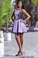 Женское летнее коктейльное платье с пышной юбкой со вставками ажурного гипюра на подкладе коттон мемори