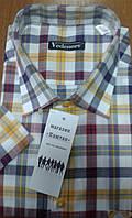 Приталенная рубашка в бордово-желтую клетку 100% хлопок рукавом 100% хлопок