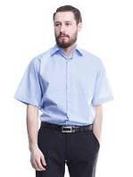 Рубашка мужская голубая  100% хлопок с коротким рукавом