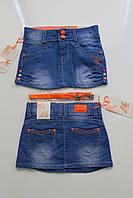 Юбка джинсовая детская Три цветочка. Размер 4 - 12 лет. Разные цвета
