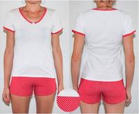 """Комплект спальный женский шорты и футболка с V-образным вырезом PM 02 р XS """"Ego"""" 95% хлопок розовый"""