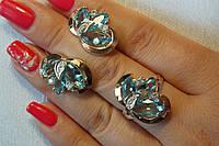 Нарядный комплект серебряных украшений с голубыми камнями