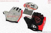 Перчатки для спорта без пальцев L-черно-красные, с мягкими вставками под ладонь