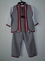"""Детский костюм для мальчика """"Вышиванка"""" тройка (красный)"""