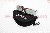 Спортивные очки серо-красные + линзы сменные 3к-кт + набор для ухода, в чехле жестком SGL-901