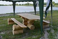 Стол и две лавки из оцилиндрованного бревна