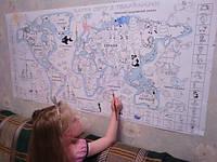 Фото обои - раскраски. Карта мира с наклейками и загадками
