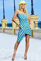 Женское асимметричное стильное летнее платье на узких бретелях сзади на спине перекрещиваются крепдешин