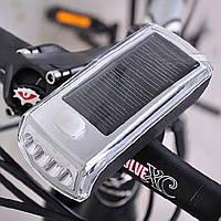 Светодиодная велосипедная передняя фара на солнечной батареи (велофонарик, велофара), фото 1