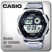 Стильные часы CASIO AE-1000WD, 10Bar, стальной браслет, 5 будильников