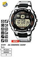 Стильные часы CASIO AE-2000WD, 20Bar, стальной браслет, 5 будильников