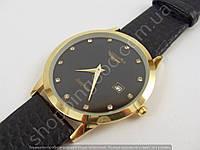 Часы мужские наручные Longines L5161 золотые с черным ремешком, календарь