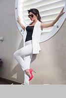Костюм женский нарядный жакет без рукавов и брюки стрейч-котон размер 42-44;44-46