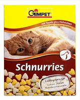Витамины для котов и кошек Gimpet Schnurries сердечки с курицей и таурином, 50 г