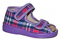 Детские летние сандалии для мальчика на липучках (Фиолетовые в клетку)