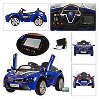 Детский Электромобиль BMW М 2510 синий со встроенным планшетом, колеса EVA, амортизаторы и пульт BlueTooth