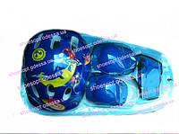 Комплект защиты синий детский: шлем, наколенники, налокотники, защита рук и кистей