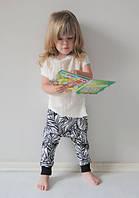 Легкие штаны гаремы в листики. Унисекс. Размеры: 86, 92 см