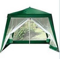 Садовый павильон-шатер с москитной сеткой и молниями S3301-2.4 (3x3 м) тёмно зелёный