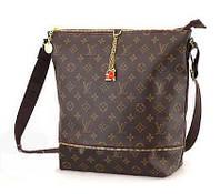 Модная вместительная сумка на плечо по последнему слову моды Louis Vuitton, с золотистой фурнитурой, 30*27см