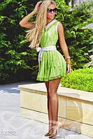 Женское летнее короткое платье с отложенным воротником без рукавов гипюр коттон